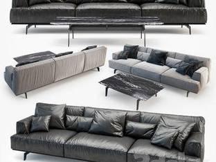 现代简约黑色多人沙发