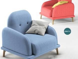 现代糖果色单人沙发