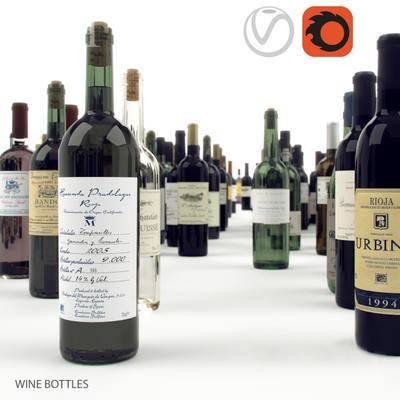 2000套高精3D单体模型, 现代, 红酒瓶, 酒瓶