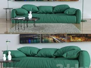 现代绿色多人沙发
