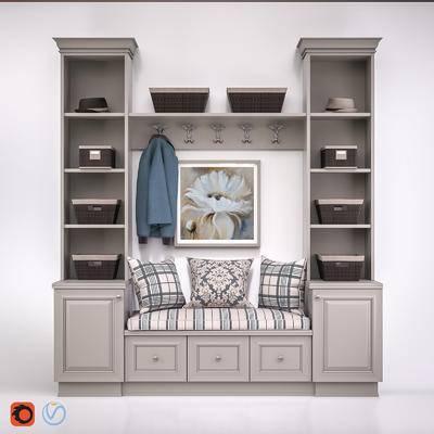 下得乐品牌模型库, 现代, 衣柜, 置物柜