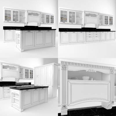 2000套高精3D单体模型, 美式, 厨房, 橱柜