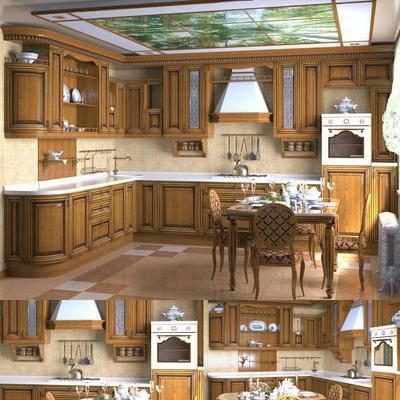 2000套高精3D单体模型, 美式, 厨房, 橱柜, 餐桌, 单椅, 摆件, 餐具