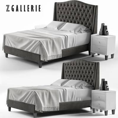 2000套高精3D单体模型, 美式, 双人床, 床头柜, 摆件