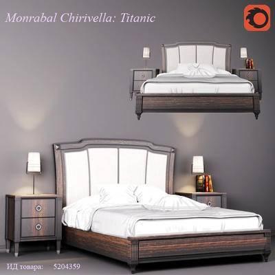 2000套高精3D单体模型, 美式, 双人床, 床头柜, 台灯