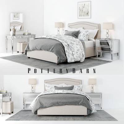 2000套高精3D单体模型, 美式, 双人床, 边柜, 台灯, 梳妆台