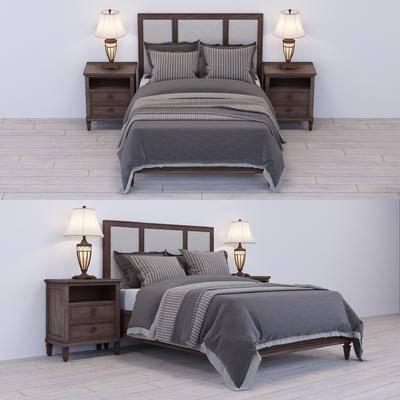 2000套高精3D单体模型, 美式, 双人床, 台灯, 床头柜