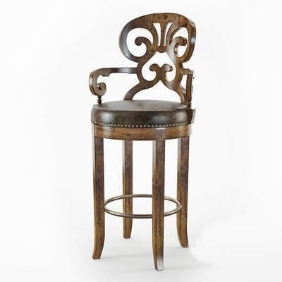 2000套高精3D单体模型, 美式, 吧椅, 吧凳