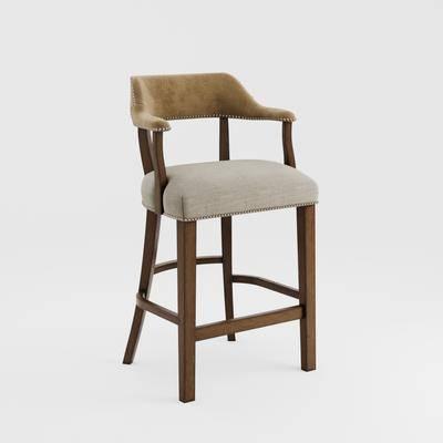 2000套高精3D单体模型, 吧椅, 美式