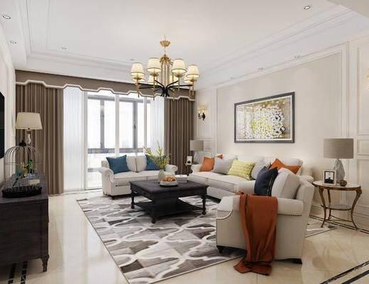 下得乐2019季千套模型, 美式, 客厅, 茶几, 多人沙发, 单人沙发, 电视柜