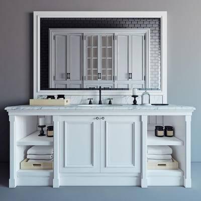 2000套高精3D单体模型, 美式, 洗手台