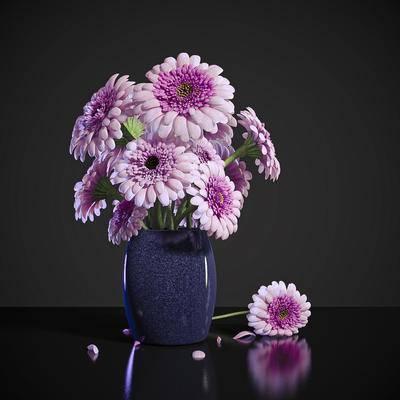 2000套高精3D单体模型, 现代, 花瓶, 花卉, 植物, 摆件