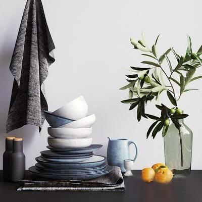 2000套国外模型, 现代, 花瓶, 摆件, 碗碟