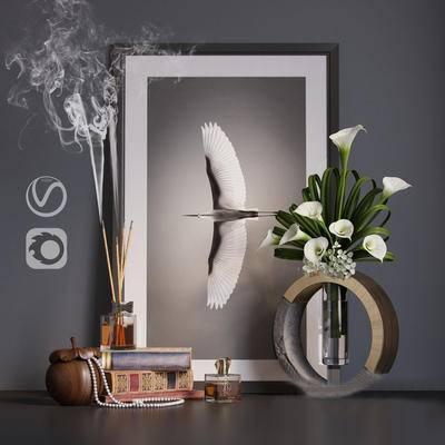 现代, 装饰画, 陈设品, 摆件, 挂画, 花瓶花卉, 书籍