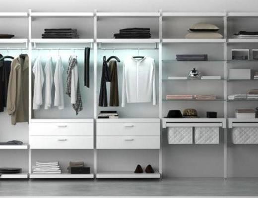 下得乐品牌模型库, 现代, 衣帽架, 衣柜