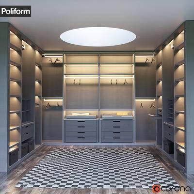 下得乐品牌模型库, 现代, 衣帽柜, 衣柜