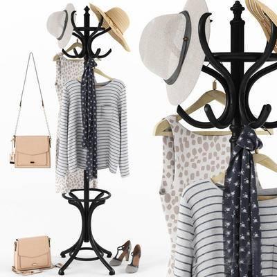 2000套高精3D单体模型, 衣帽架, 服装, 服饰, 现代