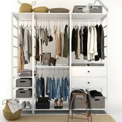 下得乐品牌模型库, 现代, 衣架, 衣柜