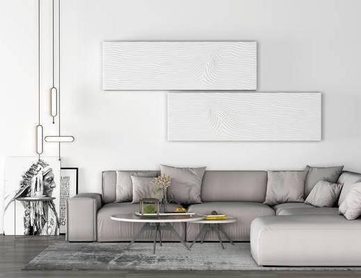 下得乐2019季千套模型, 现代, 拐角沙发, 多人沙发, 茶几