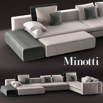 下得乐品牌模型库, 现代, 转角沙发, 拐角沙发, 沙发, 多人沙发