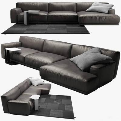 下得乐品牌模型库, 现代, 转角沙发, 多人沙发, 沙发