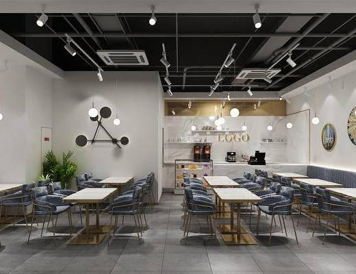 下得乐2019季千套模型, 现代, 咖啡厅, 餐厅, 桌椅组合