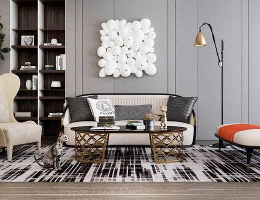 下得乐2019季千套模型, 现代, 客厅, 多人沙发, 茶几, 落地灯, 单人沙发