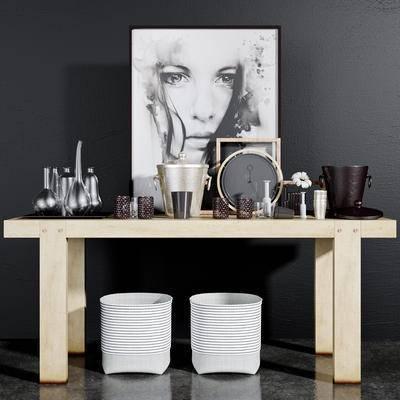 下得乐品牌模型库, 现代, 边桌摆件组合, 摆件组合