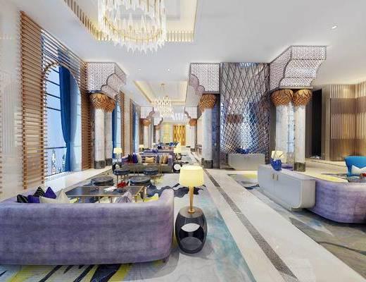 下得乐2019季千套模型, 现代, 会客区, 多人沙发, 茶几