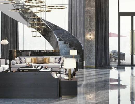 下得乐2019季千套模型, 现代, 休息厅, 大厅, 多人沙发, 茶几, 落地灯