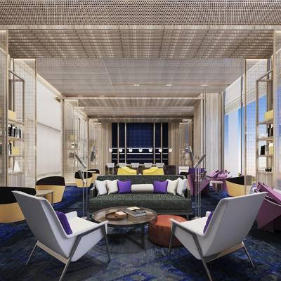 下得乐2019季千套模型, 现代, 酒店大堂, 沙发组合