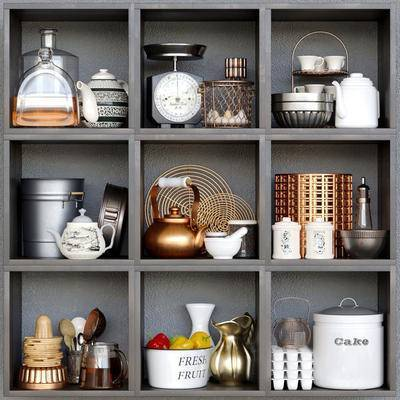 2000套国外模型, 现代, 陈设品, 摆件, 置物柜架, 茶壶, 书籍