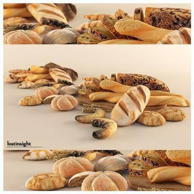 2000套国外模型, 下得乐品牌模型库, 现代, 面包, 食物