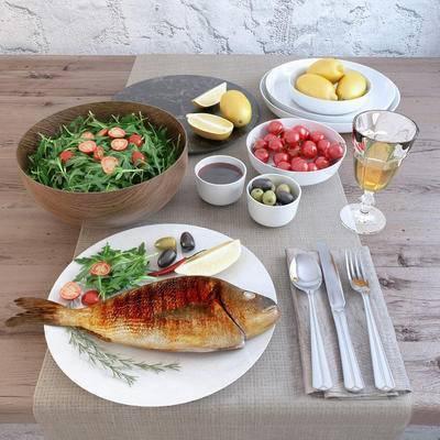 2000套高精3D单体模型, 现代, 食物, 餐具, 摆件