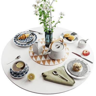 2000套高精3D单体模型, 现代, 餐具, 摆件, 餐桌