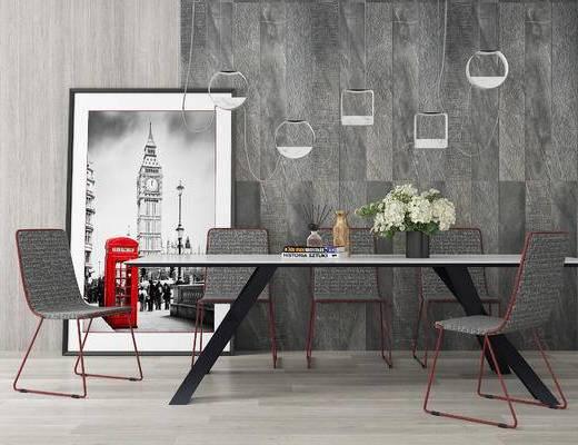 下得乐2019季千套模型, 现代, 餐桌, 桌椅组合, 单椅