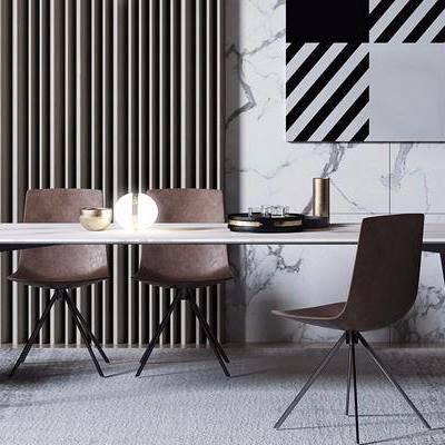 下得乐2019季千套模型, 现代, 餐桌, 单椅, 桌椅组合