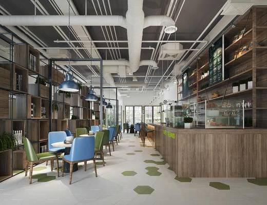 下得乐2019季千套模型, 现代, 餐饮店, 餐厅, 单椅, 工业风
