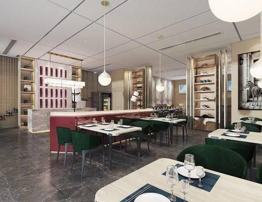 下得乐2019季千套模型, 现代, 餐饮店, 餐厅, 餐桌, 吊灯, 单椅