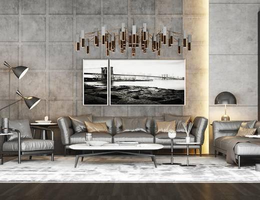 下得乐2019季千套模型, 高级灰, 现代, 多人沙发, 茶几, 落地灯, 客厅