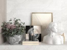 现代鲜花书籍摆件雕塑装饰画组合