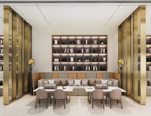 下得乐2019季千套模型, 现代, 休息区, 多人沙发, 单椅