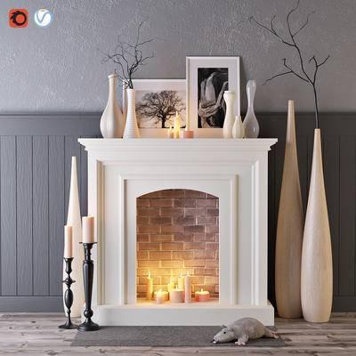 下得乐品牌模型库, 简欧, 壁炉, 花瓶, 烛台, 摆件, 装饰画