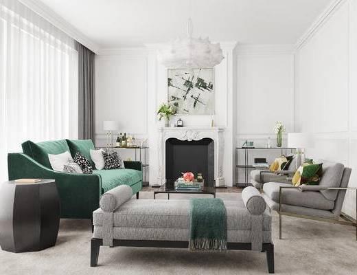 下得乐2019季千套模型, 简欧, 客厅, 多人沙发, 沙发, 吊灯