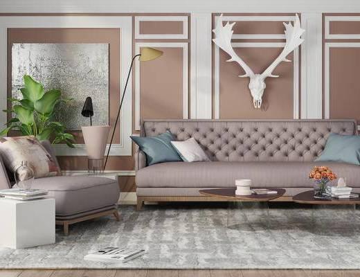 下得乐2019季千套模型, 简欧, 多人沙发, 茶几, 落地灯, 摆件, 单人沙发