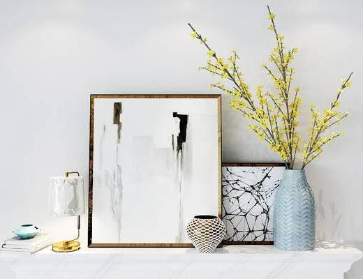 下得乐2019季千套模型, 简欧, 花瓶花卉, 台灯, 装饰画, 摆件, 陈设品