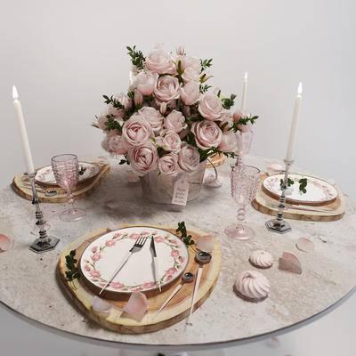 2000套高精3D单体模型, 简欧, 餐具, 餐桌, 摆件
