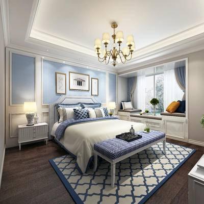 下得乐2019季千套模型, 美式, 卧室, 双人床, 吊灯, 床头柜, 台灯