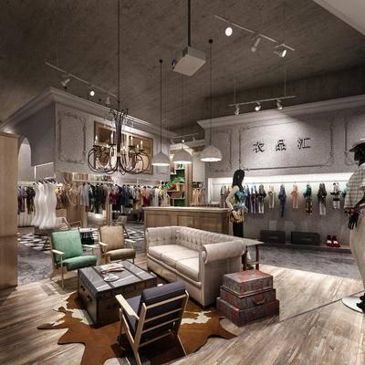 下得乐2019季千套模型, 现代, 服装店, 多人沙发, 单椅, 茶几, 服装