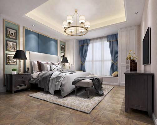 下得乐2019季千套模型, 美式, 卧室, 双人床